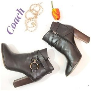 Coach Allesandra Leather Ankle Booties. Size 10B
